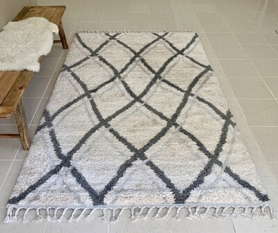 Musa Fluffy Moroccan Shaggy Rug Grey-White-Beige (Multiple sizes)