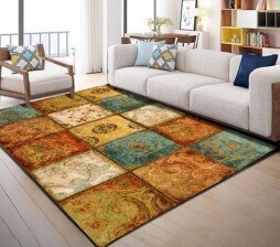 Gemini Printed Patch Rug (160 x 230 cm) - Low pile rubber back