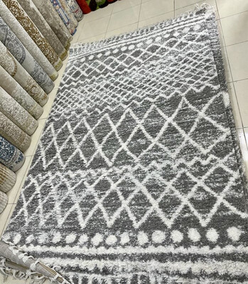 Tucan Fluffy Moroccan Shaggy Rug Grey & White (Multiple sizes)