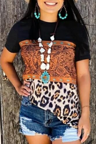 Black Leopard Print Buckstich Shirt