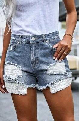 Silver Sequin Pocket Denim Shorts