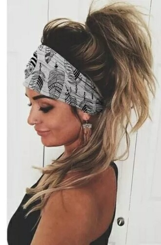 White Feather Print Head Band