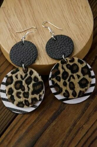 Leopard Stripped Layered Earrings