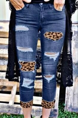 Distressed Leopard Patch Blue Skinny Jeans