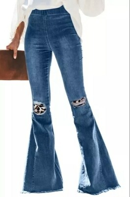 Leopard Patch Bell Bottom Jeans