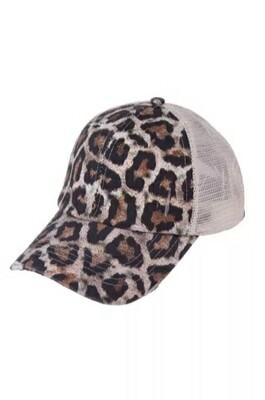 Leopard Ponytail Cap