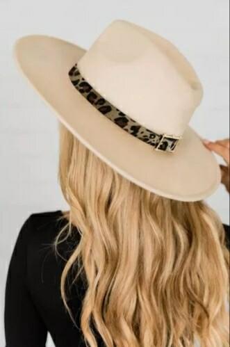 Apricot Leopard Band Hat