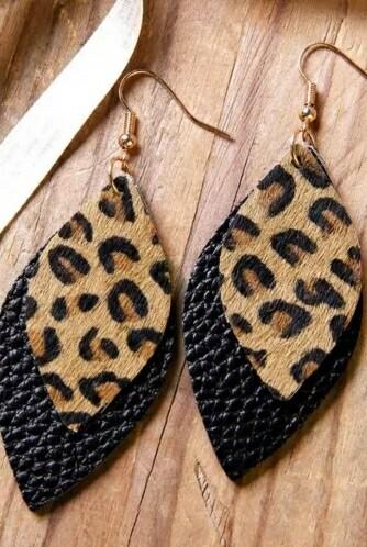 Leopard Black Layered Earrings