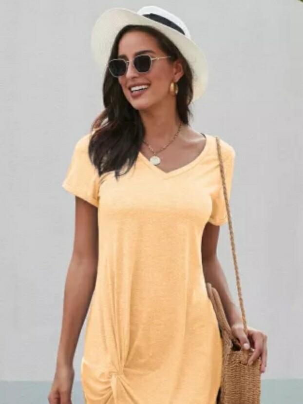 Yellow Side Knot Dress
