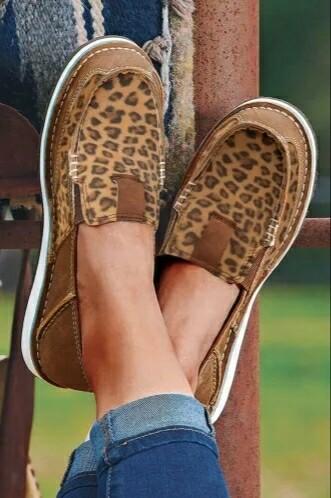 Brown Leopard Flat Canvas Shoes