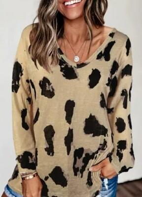 Long Sleeve Leopard Print Blouse