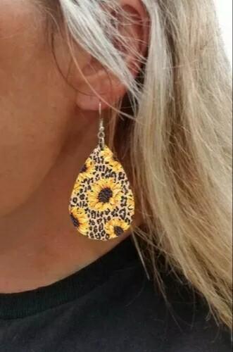 Sunflower Leopard Earrings