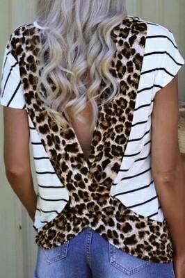 Stripped White Leopard Open Back Top