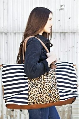 Stripped Leopard Weekend Bag