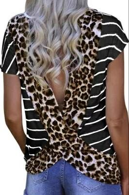 Stripped Black Leopard Open Back Top