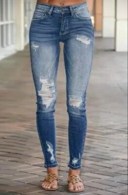 Distressed Torn Skinny Jeans