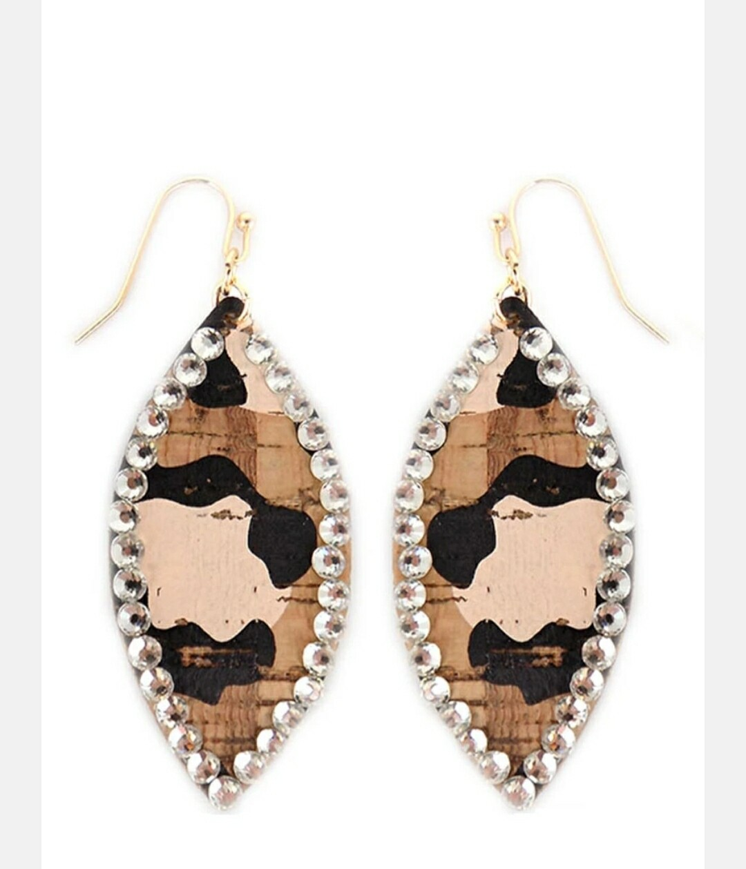 Crystal Trimmed Leopard Marquise Earrings