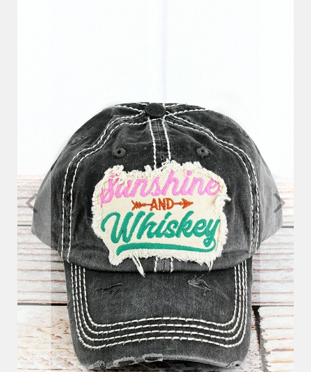 Distressed Black Sunshine And Whiskey Cap