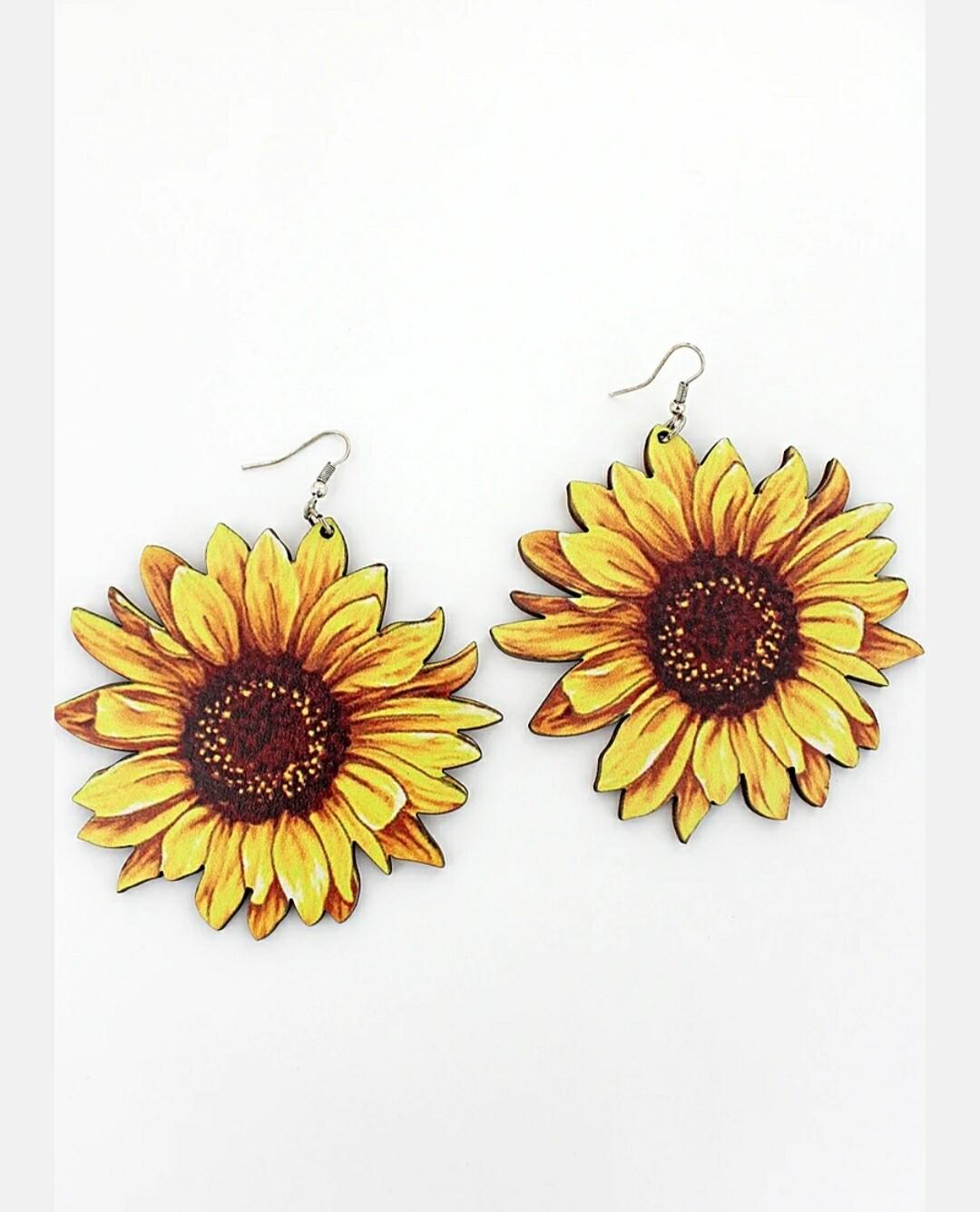 Sunflower Wood Earrings