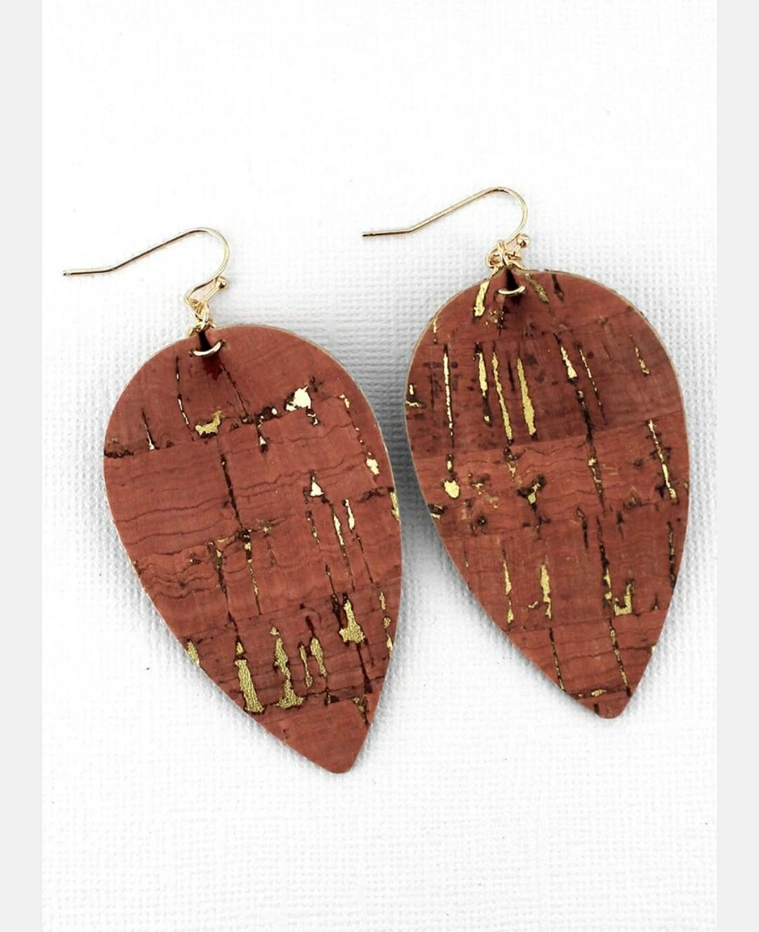 Coral Cork Petal Earrings