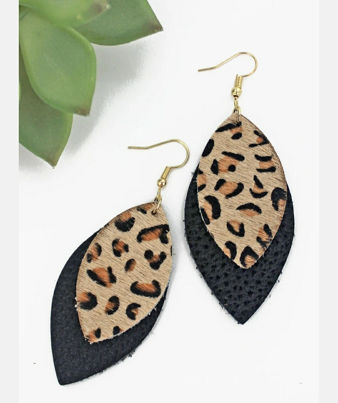 Leopard & Black Layered Marquise Earrings