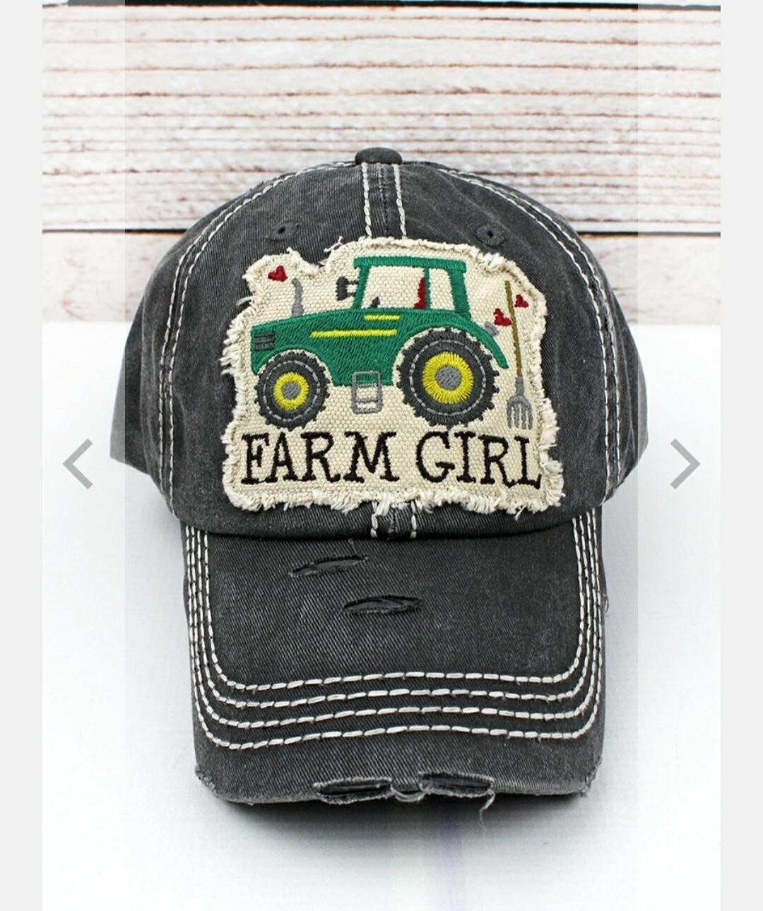 Distressed Black Farm Girl Cap