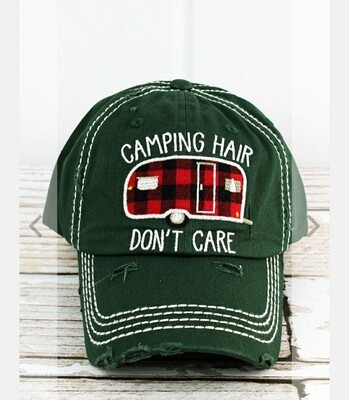 Distressed Pine Green Camping Hair Doesn't Care Cap