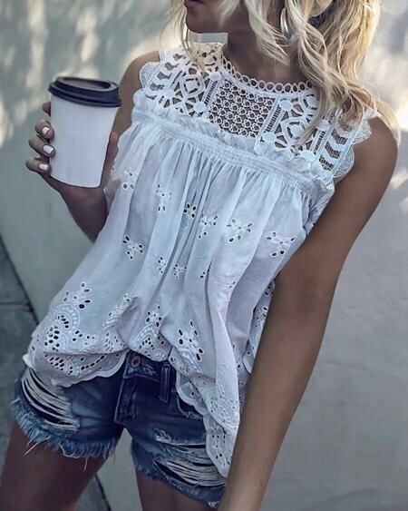 White Hollowed Out Shirt