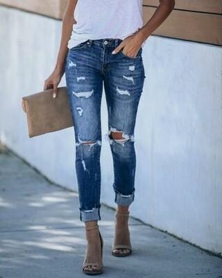 Light Blue Ripped Cutout Pocket Jeans