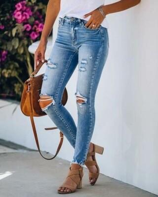 Ripped Knee Fringed Hem Jeans