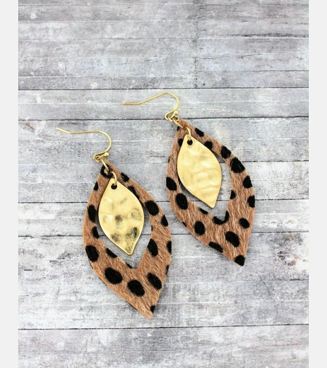 Dark Brown Cheetah & Goldtone Layered Marquise Earrings