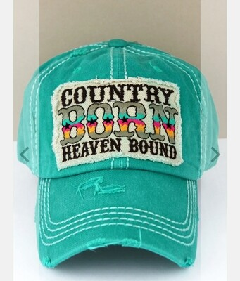 Distressed Turquoise Country Born Heaven Bound Cap