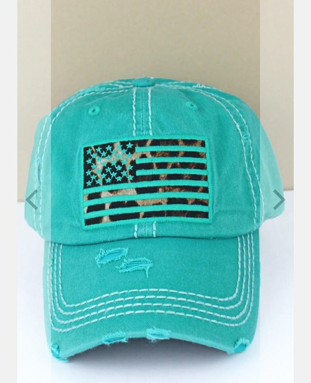 Distressed Turquoise Leopard Flag Cap
