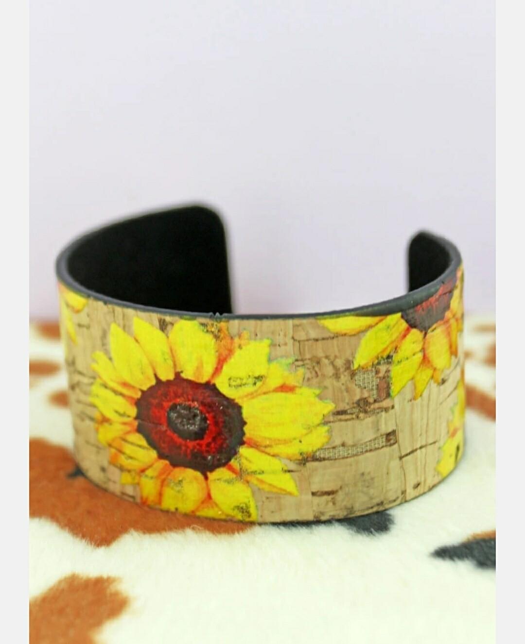 Sunflower Cork Cuff Bracelet