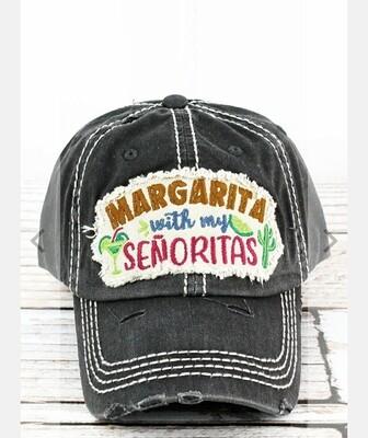 Distressed Black Margarita With My Senoritas Cap