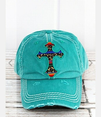 Distressed Turquoise With Leopard Serape Cross Cap