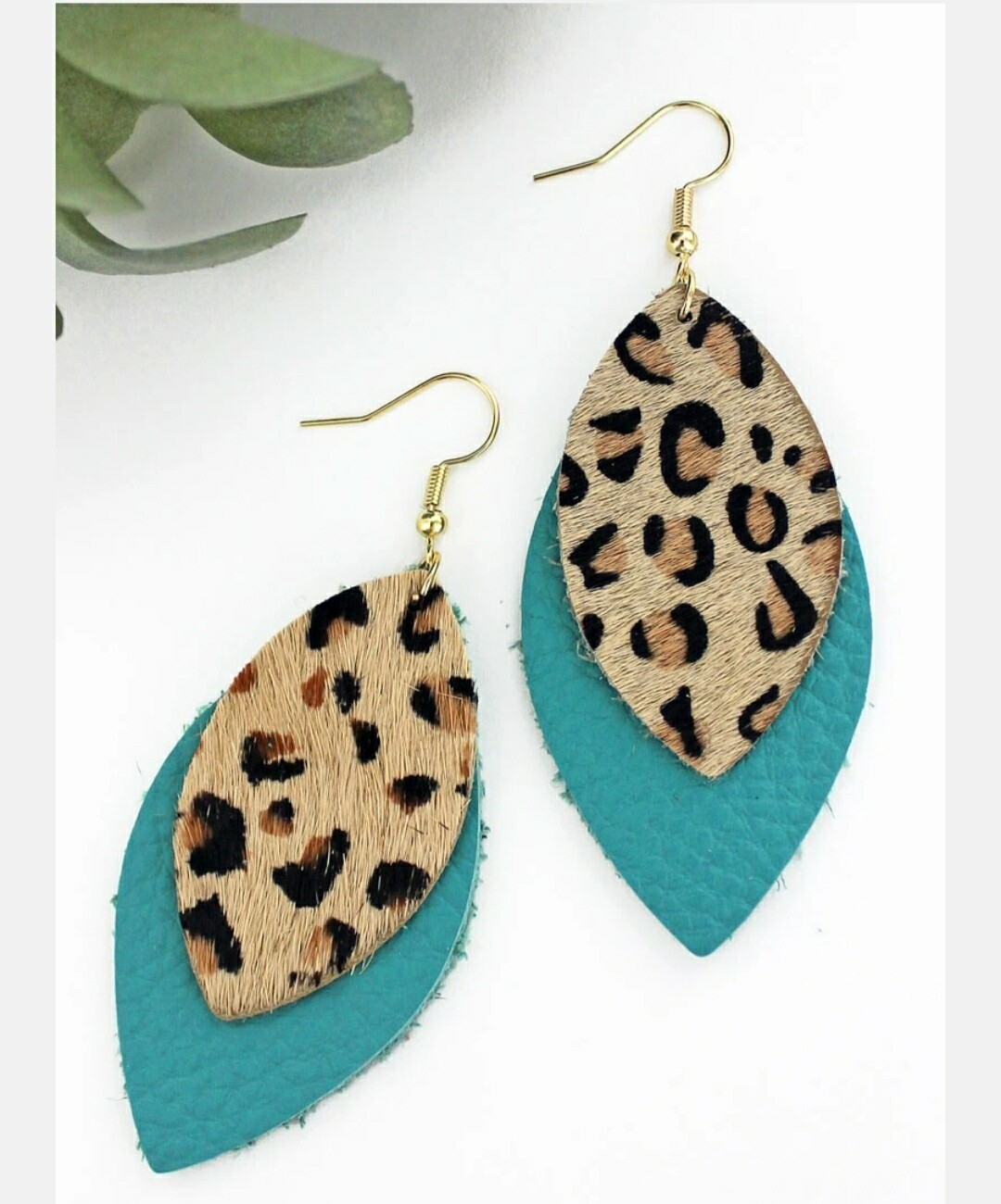 Leopard & Turquoise Layered Marquise Earrings