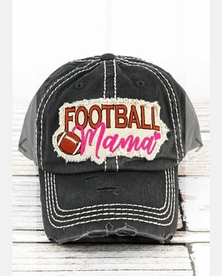Distressed Black Football Mama Cap
