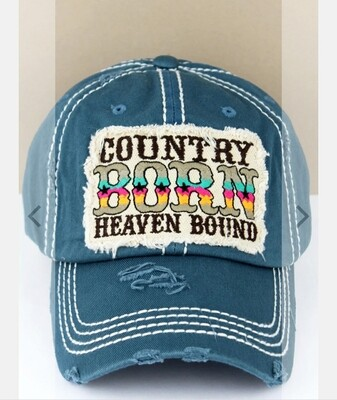 Distressed Blue Country Born Heaven Bound Cap