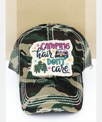 Distressed Camo Camping Hair Doesn't Care Cap