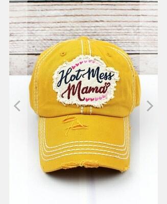 Distressed Yellow Hot Mess Mama Cap
