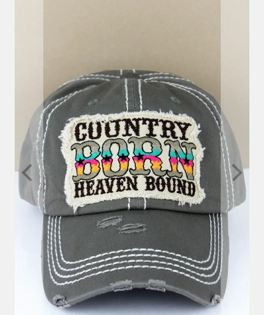Distressed Black Country Born Heaven Bound Cap