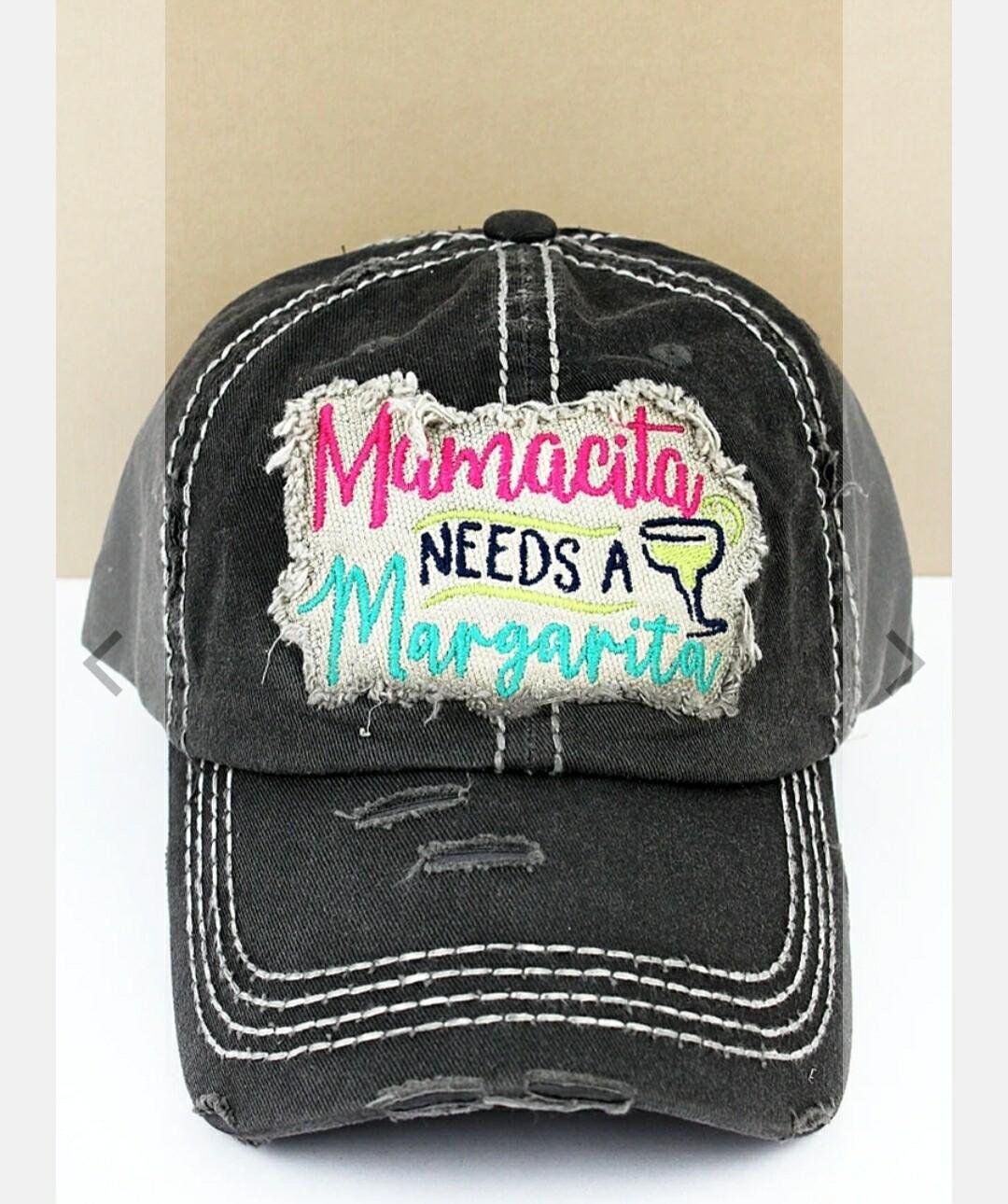 Distressed Black Mamacita Needs A Margarita Cap