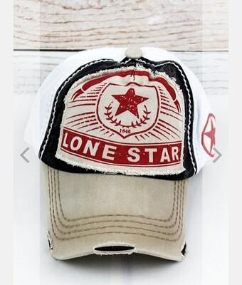 Distressed Black, Khaki, And White Lone Star Cap