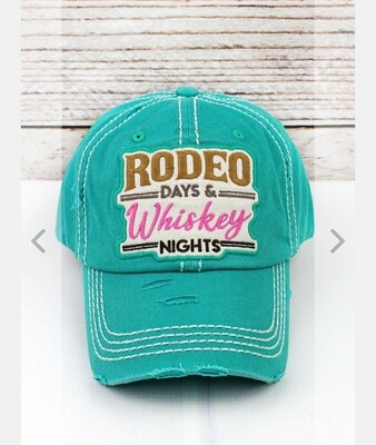 Distressed Turquoise Rodeo & Whiskey Cap