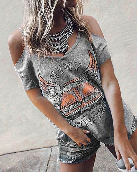 Gray Ripped Low Shoulder Shirt