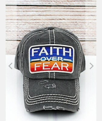 Distressed Black Serape Faith Over Fear Cap