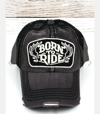 Distressed Dark Gray And Mesh Born To Ride Cap