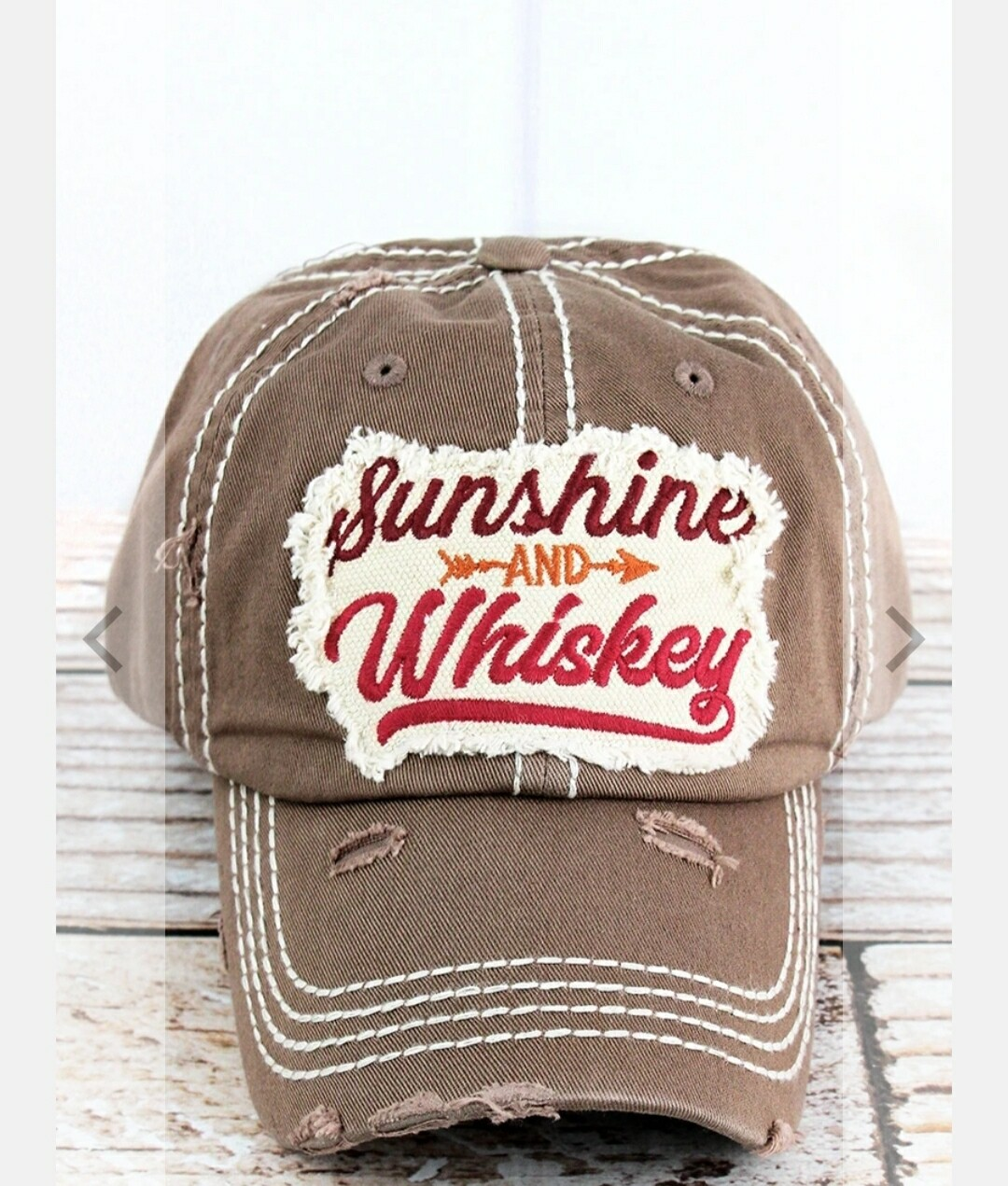 Distressed Mocha Sunshine And Whiskey Cap