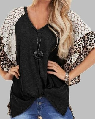 V Neck Leopard Lace Shirt